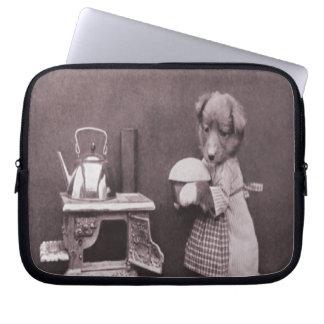 Dog Baking, Vintage Photo Laptop Sleeve