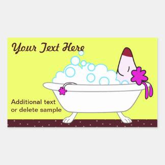 Dog Bath for Pet Groomers - yellow Rectangular Sticker