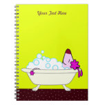 Dog Bath for Pet Groomers - yellow Spiral Notebook