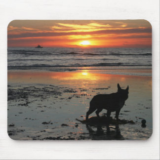 Dog Beach Sunset Mouse Pad