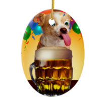 dog beer-funny dog-crazy dog-cute dog-pet dog ceramic ornament