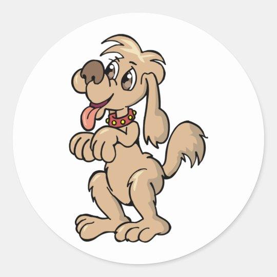 Dog Begging Classic Round Sticker