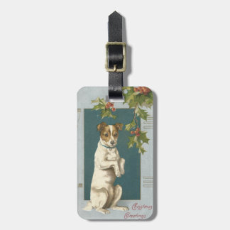 Dog Begging Holly Christmas Greetings Bag Tag