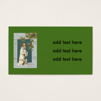 Dog Begging Holly Christmas Greetings Business Card