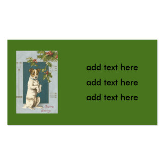 Dog Begging Holly Christmas Greetings Double-Sided Standard Business Cards (Pack Of 100)