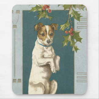 Dog Begging Holly Christmas Greetings Mouse Pad
