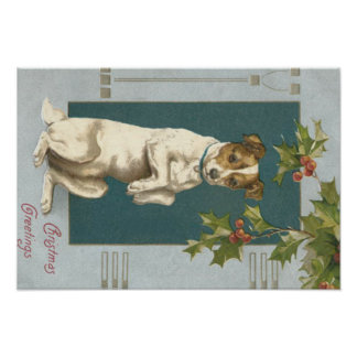 Dog Begging Holly Christmas Greetings Poster