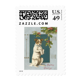 Dog Begging Holly Christmas Greetings Stamp