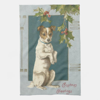Dog Begging Holly Christmas Greetings Towel