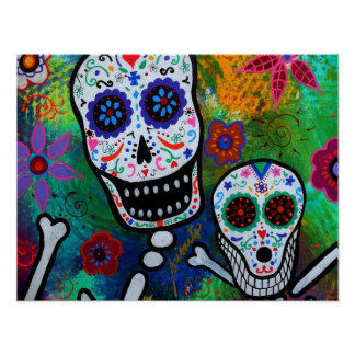 dog bestfriend DAY OF THE DEAD PAINTING Poster