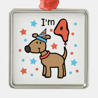Dog Birthday Four Metal Ornament