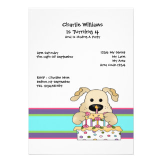 Dog Birthday Party Custom Announcements