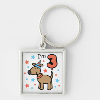 Dog Birthday Three Keychain
