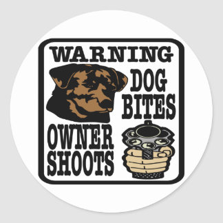 Dog Bites Owner Shoots Classic Round Sticker