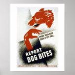 Dog Bites Vintage WPA Poster