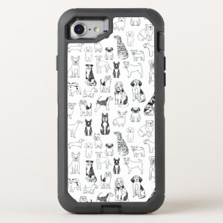 Dog Black White Hand Illustration / Andrea Lauren OtterBox Defender iPhone 7 Case