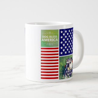 Dog Bless America Patriotic Extra Large Mug