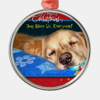 Dog Bless Us Everyone Framed Holiday Ornament