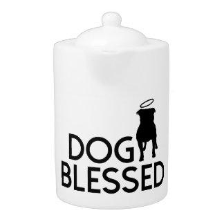 """""""Dog Blessed"""" Angel Dog Porcelain Teapot"""
