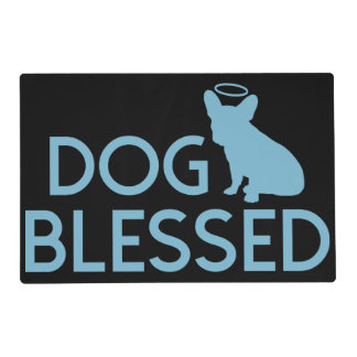 """Dog Blessed"" French Bulldog Angel Pet Bowl Mat"