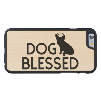 """Dog Blessed"" French Bulldog Angel Wood Phone Case"