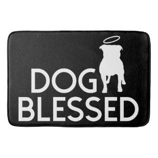 """Dog Blessed"" Pit Bull Angel Bath Mat"