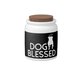 """""""Dog Blessed"""" Pit Bull Angel Corked Jar Candy Dishes"""