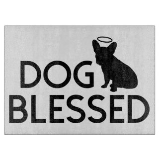 """""""Dog Blessed"""" Pit Bull Angel Cutting Board"""