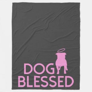 """""""Dog Blessed"""" Pit Bull Angel Fleece Blanket"""