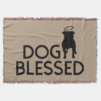 """Dog Blessed"" Pit Bull Angel Fringed Throw Blanket"