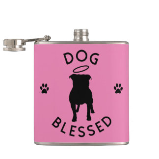 """Dog Blessed"" Pit Bull Angel Hip Flask"