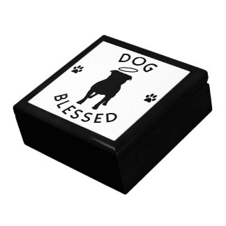 """Dog Blessed"" Pit Bull Angel Keepsake Box"