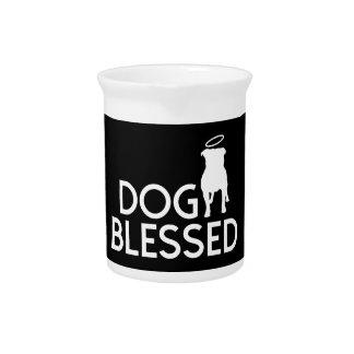 """Dog Blessed"" Pit Bull Angel Porcelain Pitcher"