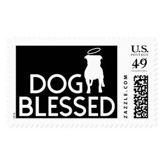 """""""Dog Blessed"""" Pit Bull Angel Postage Stamps"""