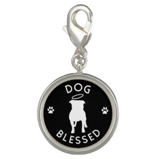 """""""Dog Blessed"""" Pit Bull Angel Round Charm"""