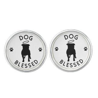 """Dog Blessed"" Pit Bull Angel Round Cufflinks"