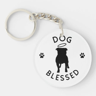 """Dog Blessed"" Pit Bull Angel Round Keychain"