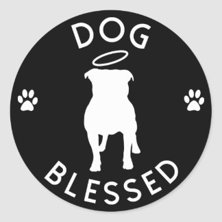"""""""Dog Blessed"""" Pit Bull Angel Round Stickers"""