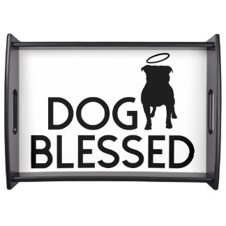 """""""Dog Blessed"""" Pit Bull Angel Serving Tray"""