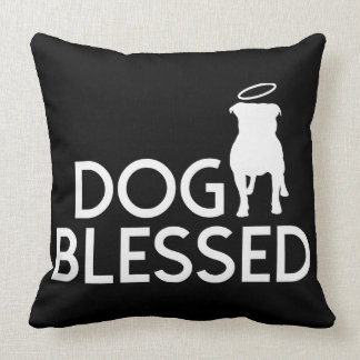 """Dog Blessed"" Pit Bull Angel Throw Pillow"