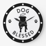 """""""Dog Blessed"""" Pit Bull Angel Wall Clock"""