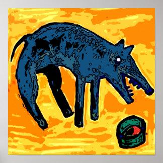 DOG BLUE FOOD BOWL PRINT