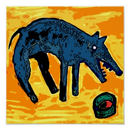 DOG BLUE FOOD BOWL POSTER