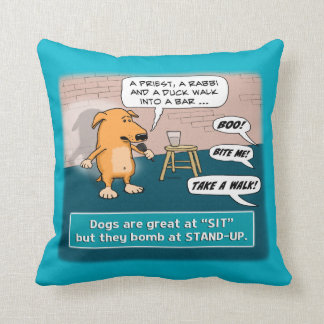 Dog Bombing at Standup Comedy Club Throw Pillow