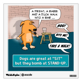 Dog Bombing at Standup Comedy Club Wall Sticker