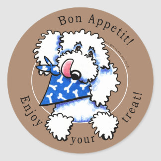 Dog Bon Appetit! Pet Treats Labels Taupe Brown Classic Round Sticker