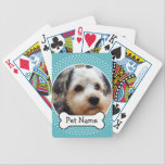 "Dog Bone and Blue Polka Dot Pet Photo Frame Bicycle Playing Cards<br><div class=""desc"">Add your favorite puppy picture and make a cute keepsake of the family pets.</div>"