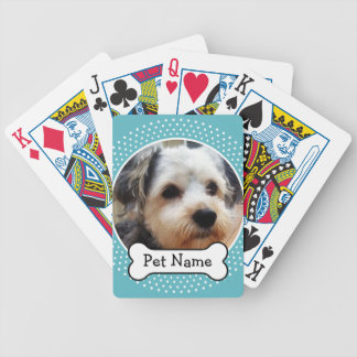 Dog Bone and Blue Polka Dot Pet Photo Frame Bicycle Playing Cards