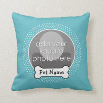 Dog Bone and Blue Polka Dot Pet Photo Frame Throw Pillow
