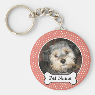 Dog Bone and Coral Polka Dot Pet Photo Frame Keychain